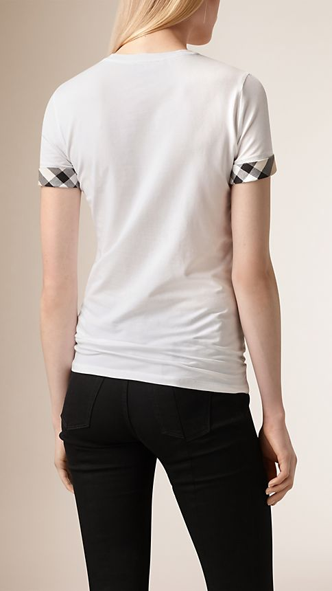 White Check Cuff Stretch Cotton T-Shirt - Image 2