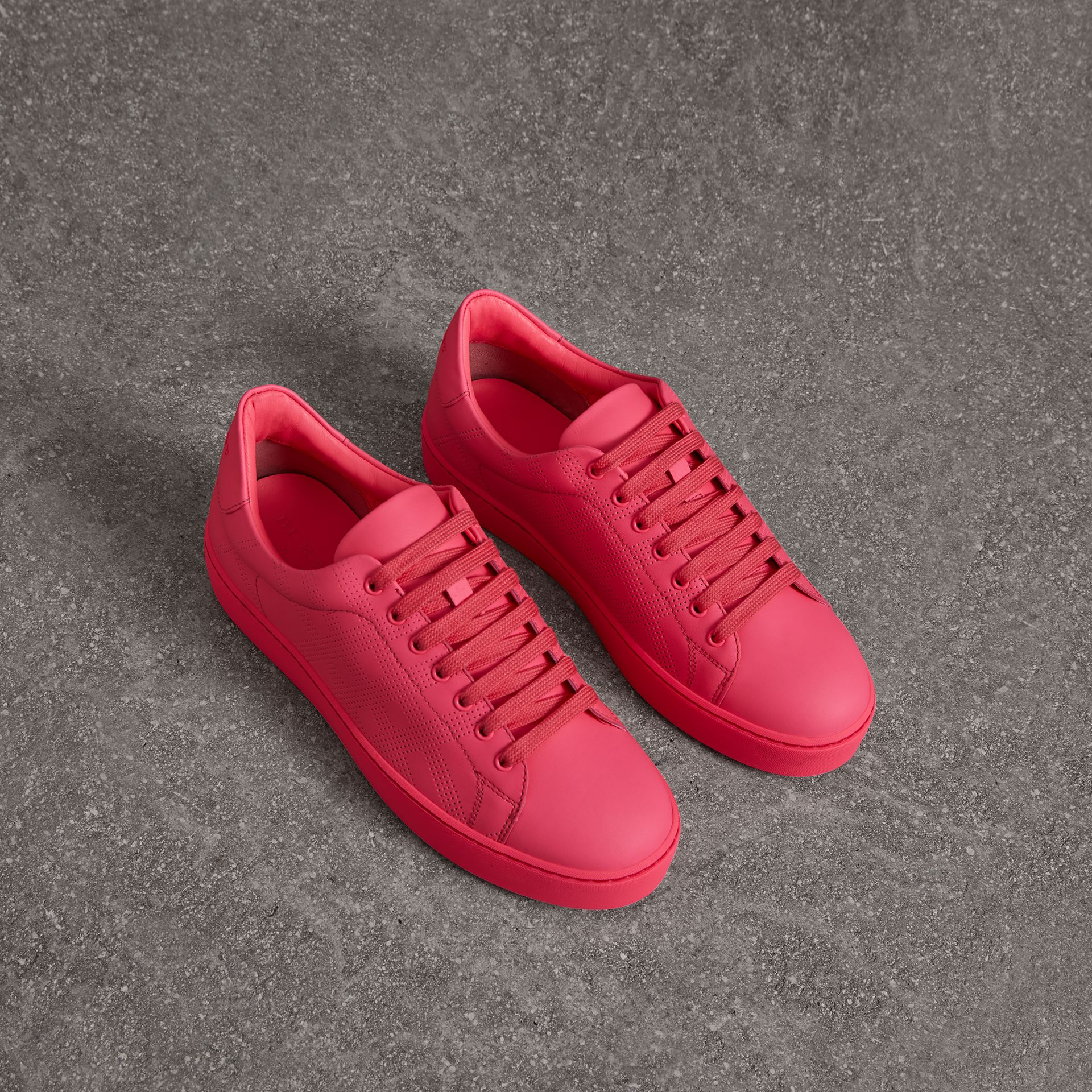 Perforated Check Leather Trainers in Neon Pink - Women | Burberry - gallery image 0