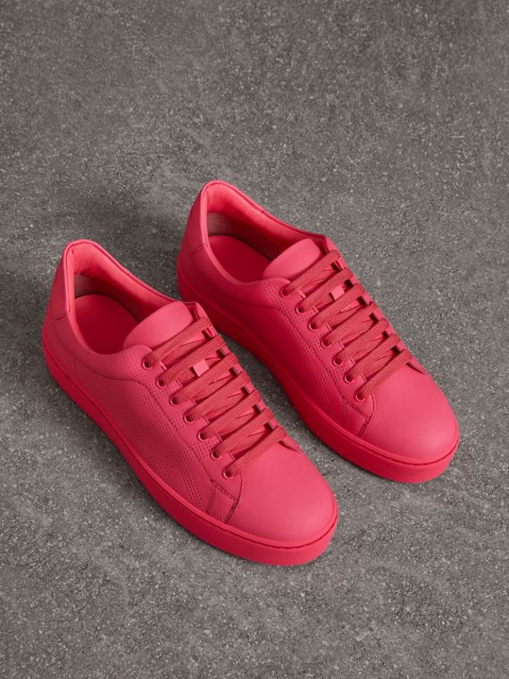 Perforated Check Leather Trainers in Neon Pink