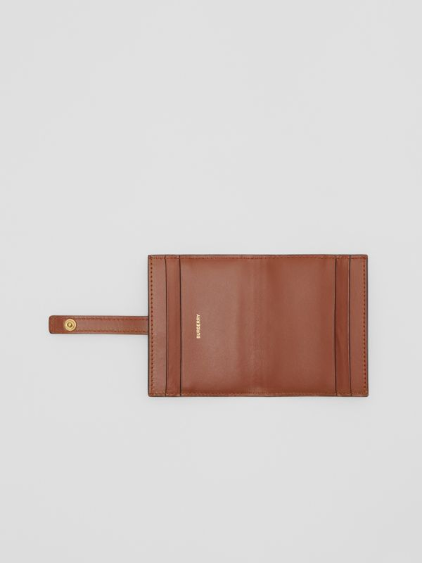Monogram Stripe E-canvas Folding Card Case in Bridle Brown - Women | Burberry Australia - cell image 2