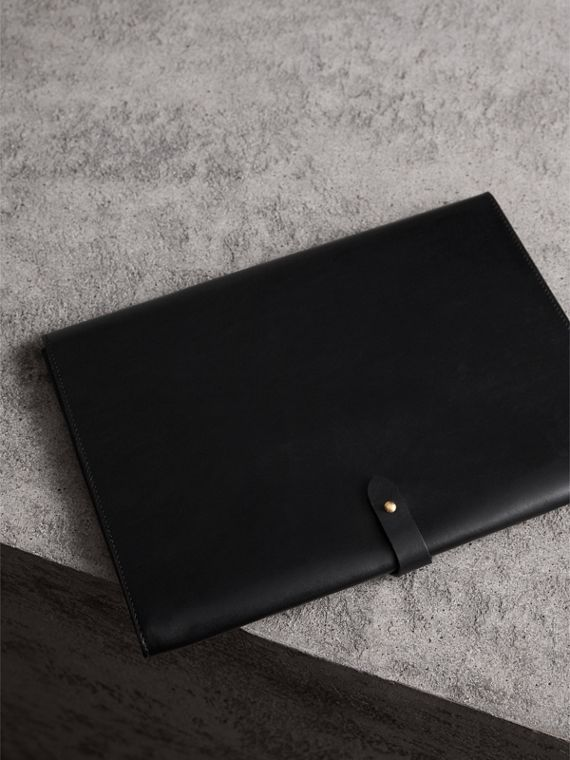 Equestrian Shield Leather A4 Document Case in Black - Men | Burberry - cell image 2