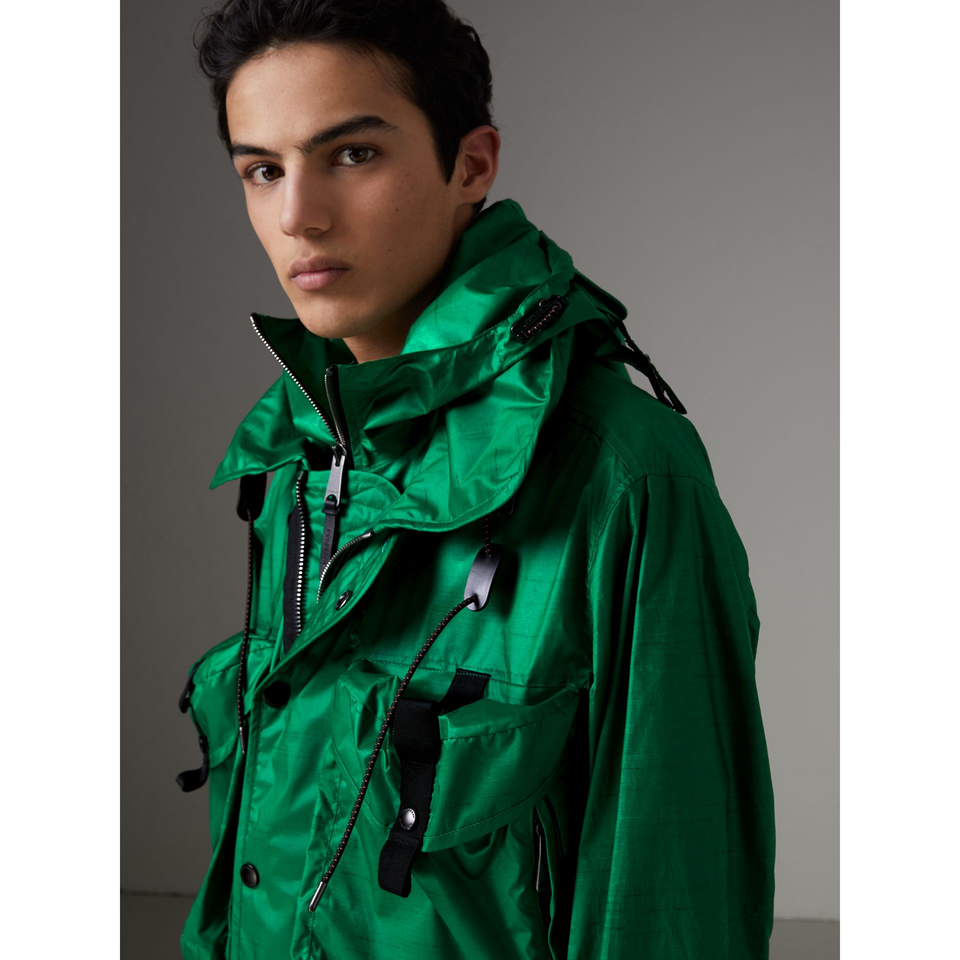 Packaway Hood Showerproof Jacket With Gilet in Vibrant Green - Men | Burberry - gallery image 1