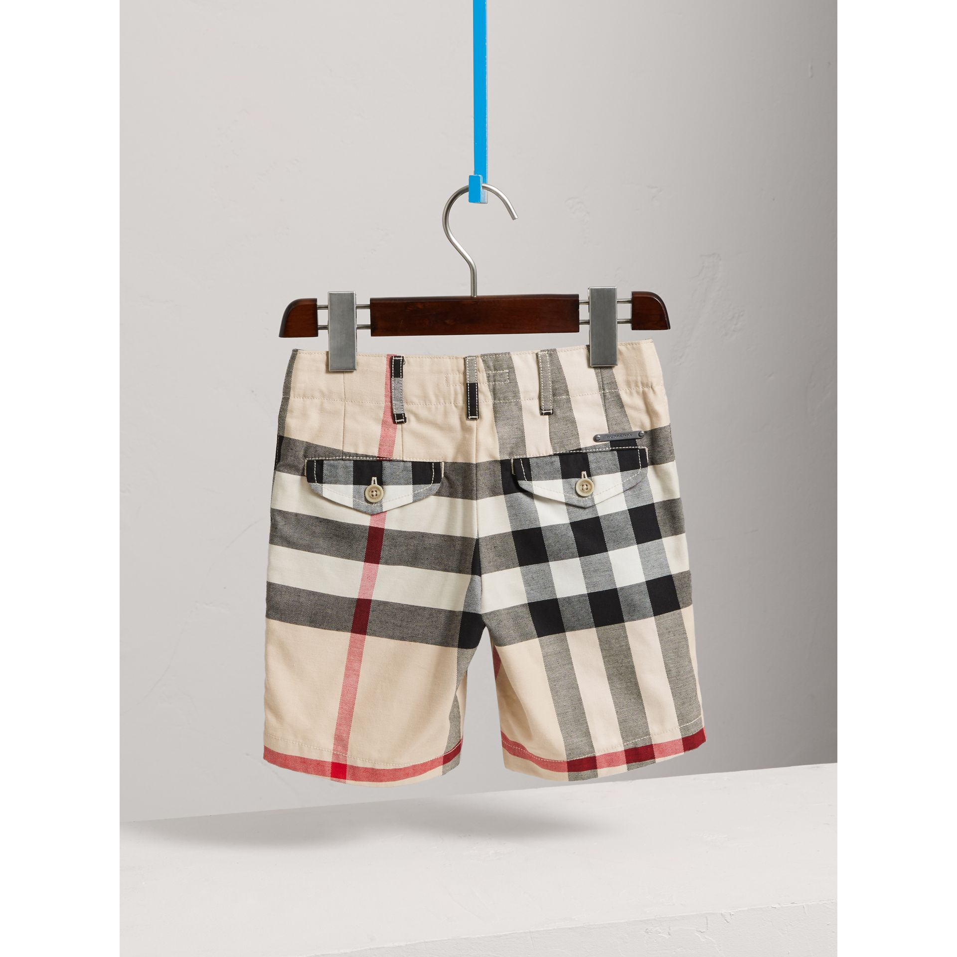 Check Cotton Chino Shorts in Stone - Boy | Burberry United Kingdom - gallery image 3