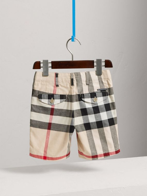 Check Cotton Chino Shorts in Stone - Boy | Burberry United Kingdom - cell image 3