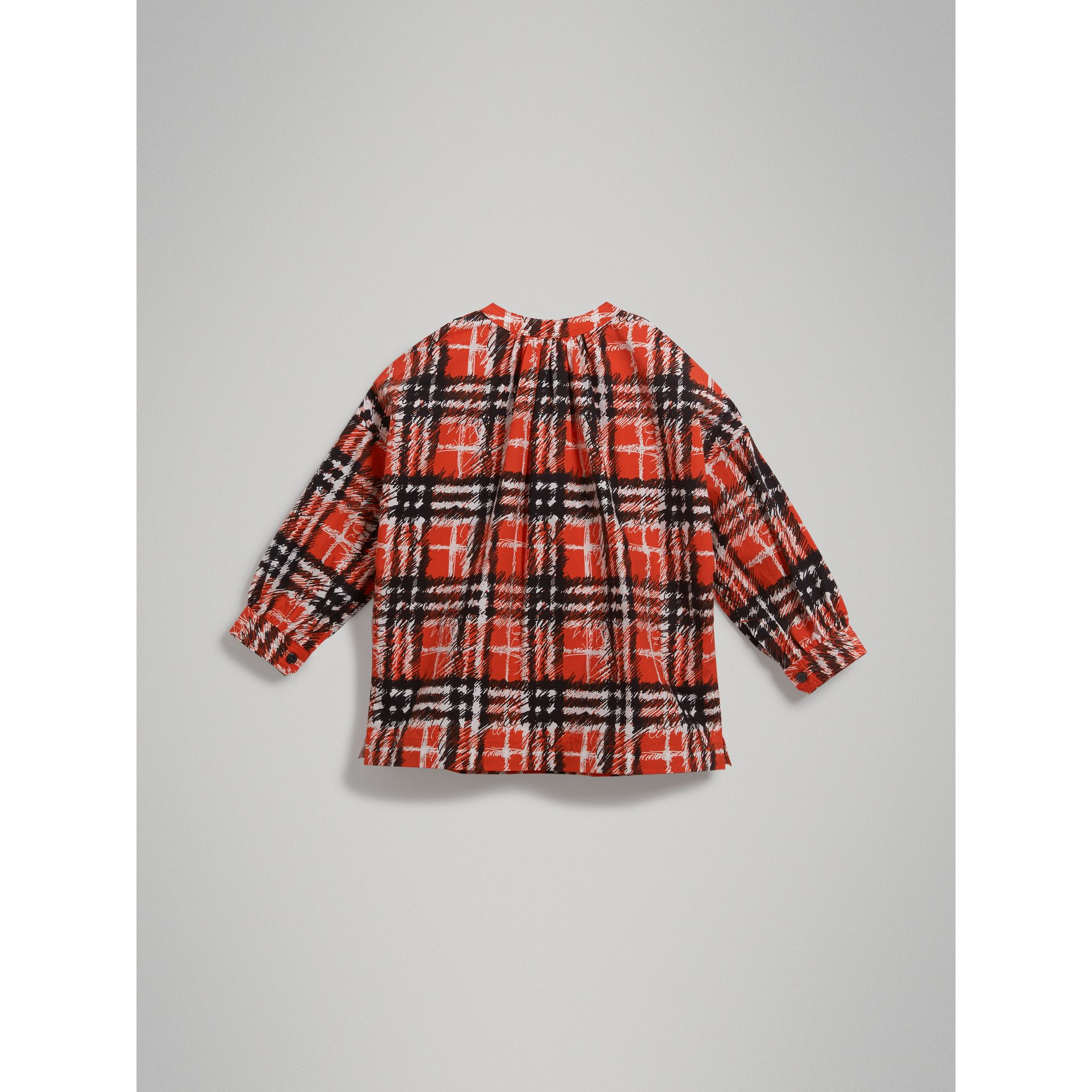 Scribble Check Print Cotton Tunic Shirt in Bright Red - Girl | Burberry - gallery image 3