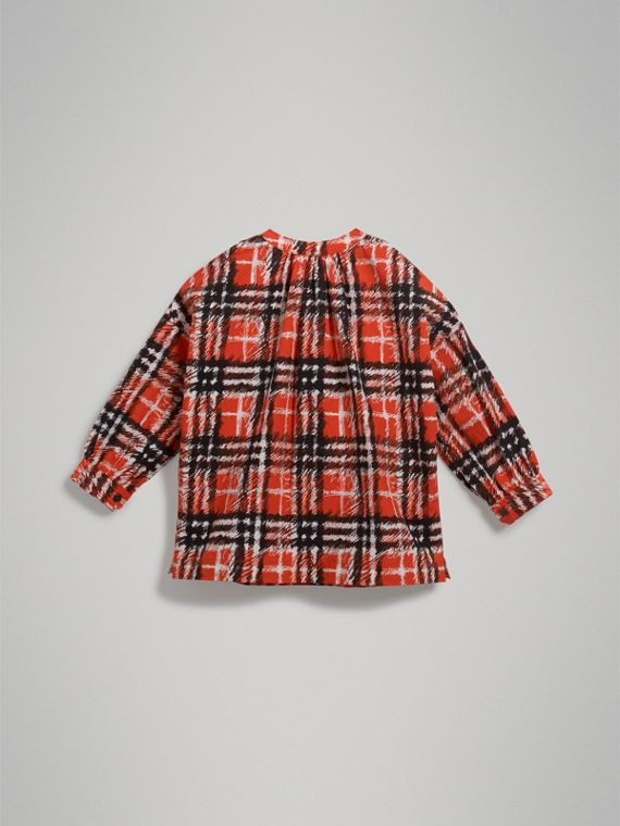 Scribble Check Print Cotton Tunic Shirt in Bright Red - Girl | Burberry - cell image 3
