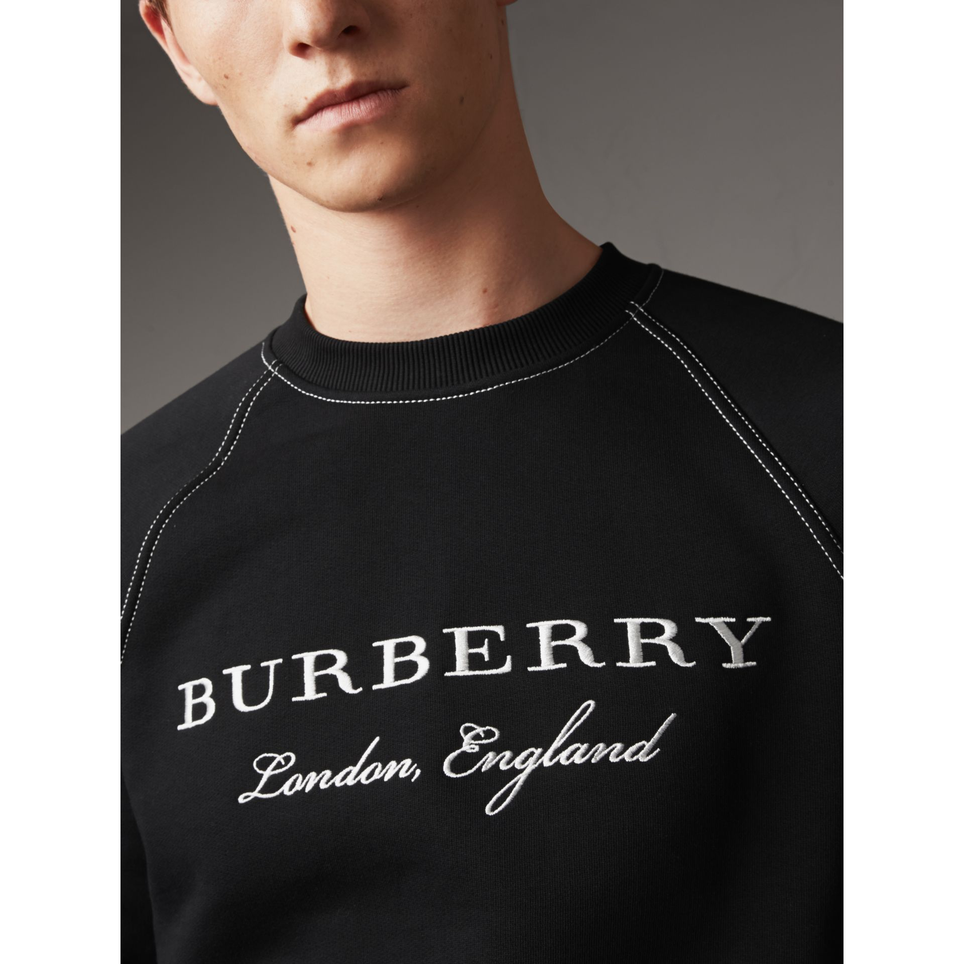 Embroidered Jersey Sweatshirt in Black / White - Men | Burberry Hong Kong - gallery image 2