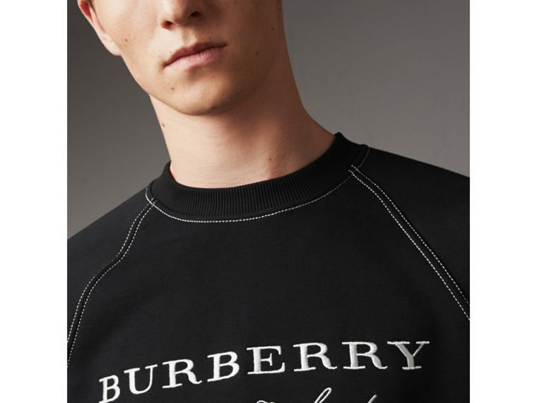 Embroidered Jersey Sweatshirt in Black / White - Men | Burberry Hong Kong - cell image 1
