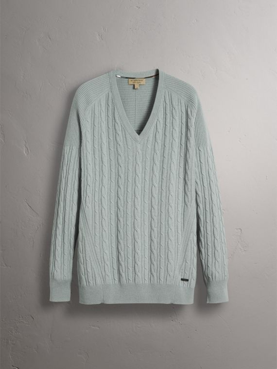 Cable and Rib Knit Cashmere V-neck Sweater in Powder Blue - Men | Burberry - cell image 3
