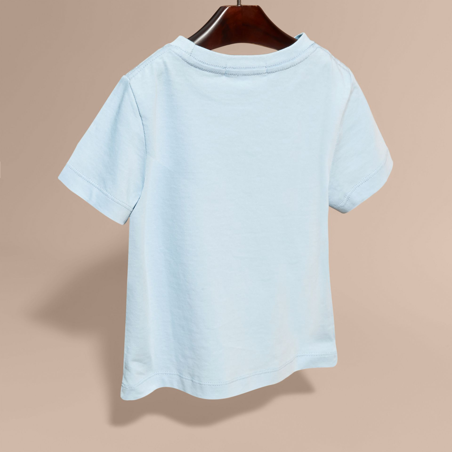 Check Pocket Cotton T-shirt in Light Blue - gallery image 4