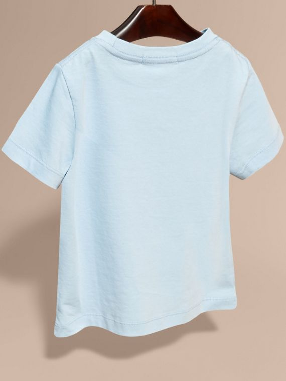 Check Pocket Cotton T-shirt in Light Blue - cell image 3