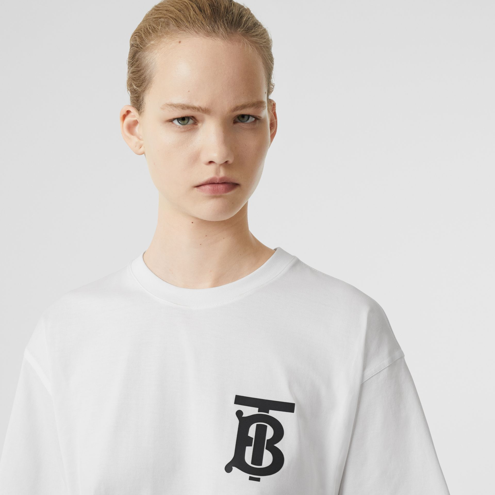 Monogram Motif Cotton Oversized T-shirt in White - Women | Burberry Singapore - gallery image 1