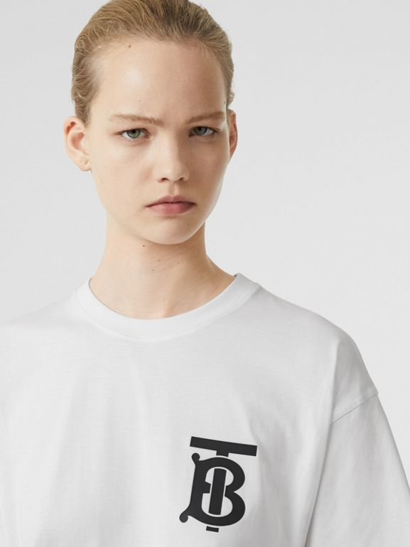 Monogram Motif Cotton Oversized T-shirt in White - Women | Burberry Singapore - cell image 1