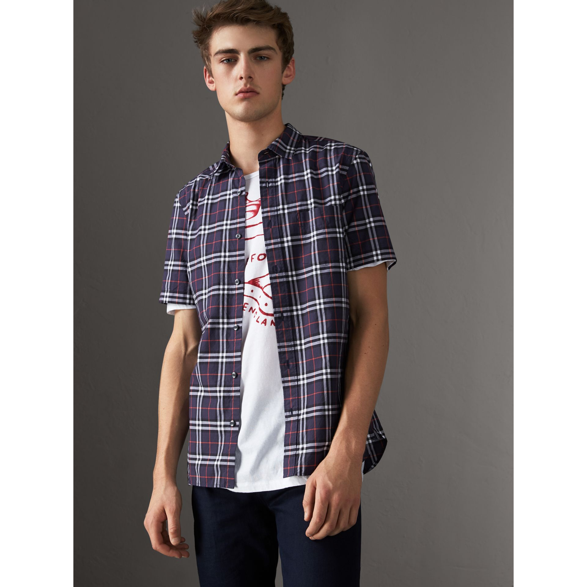 Short-sleeve Check Cotton Shirt in Navy - Men | Burberry Canada - gallery image 0