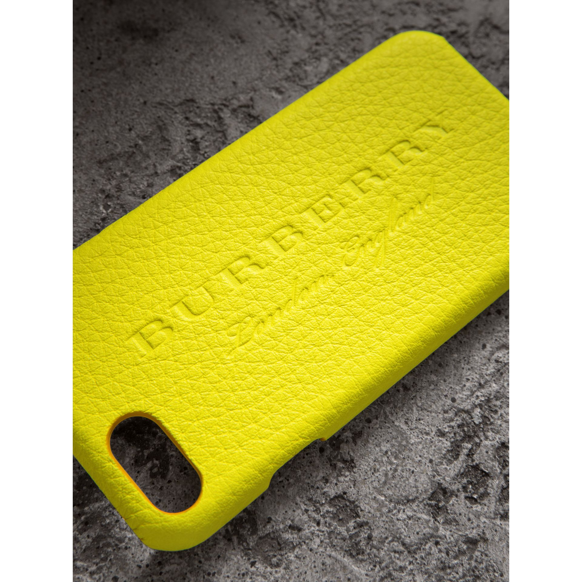 Neon Leather iPhone 7 Case in Bright Yellow | Burberry - gallery image 1