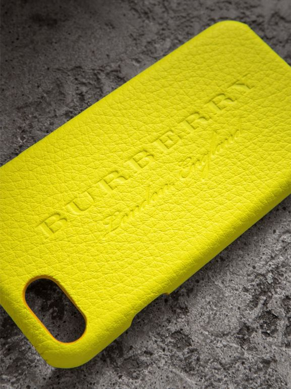Neon Leather iPhone 7 Case in Bright Yellow | Burberry - cell image 1
