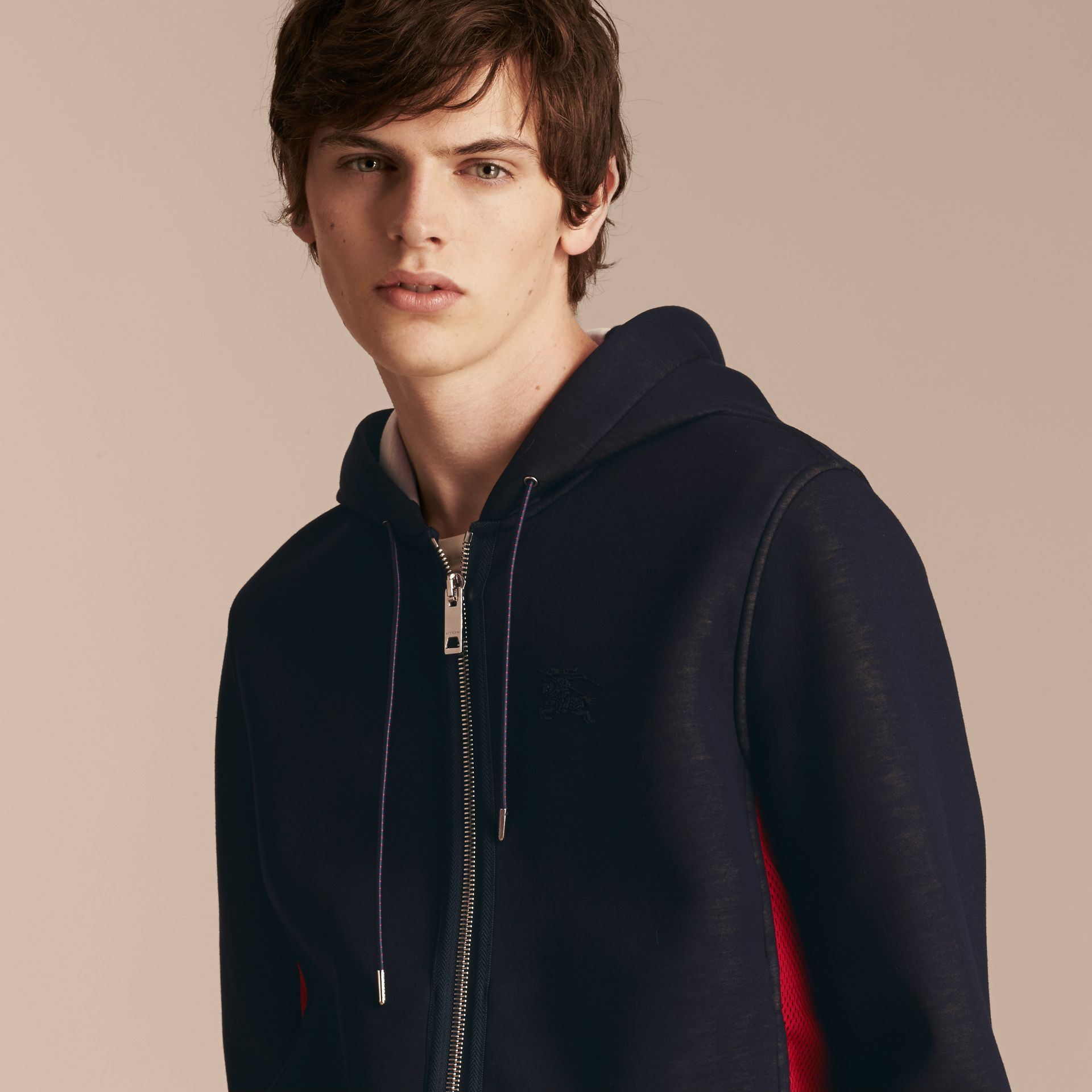 Two-tone Jersey Hooded Top Navy - gallery image 5