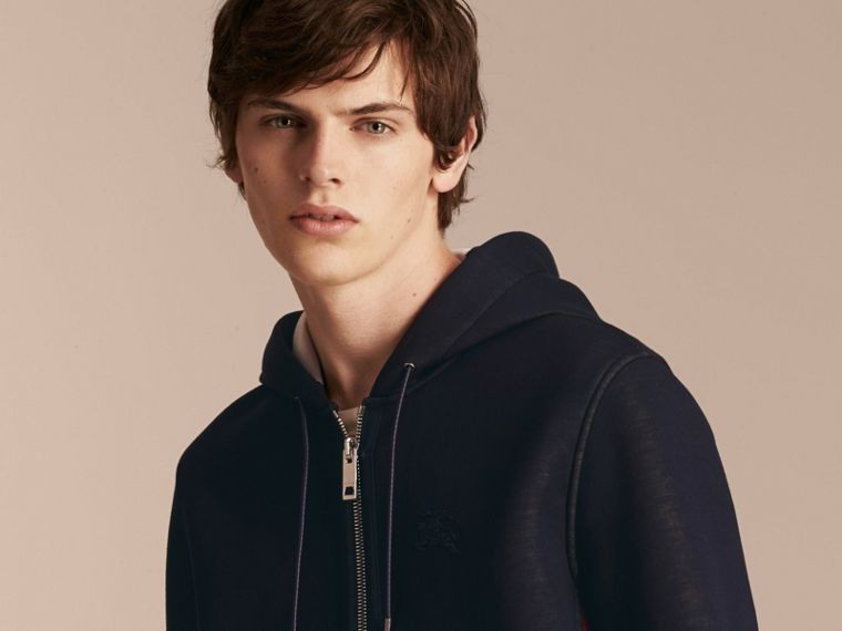 Two-tone Jersey Hooded Top Navy - cell image 4