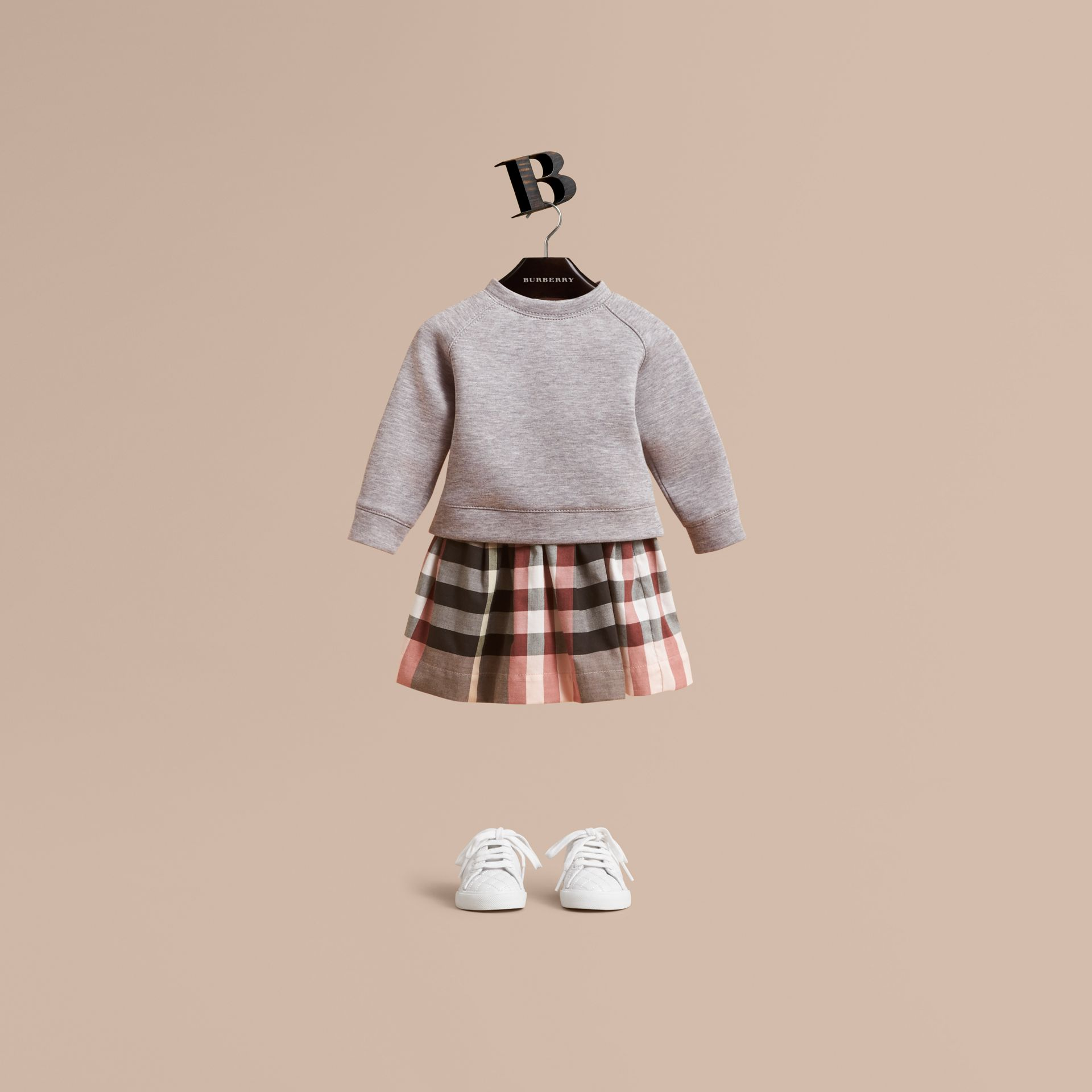 Contrast Check Sweater Dress in Dusty Pink | Burberry United Kingdom - gallery image 1