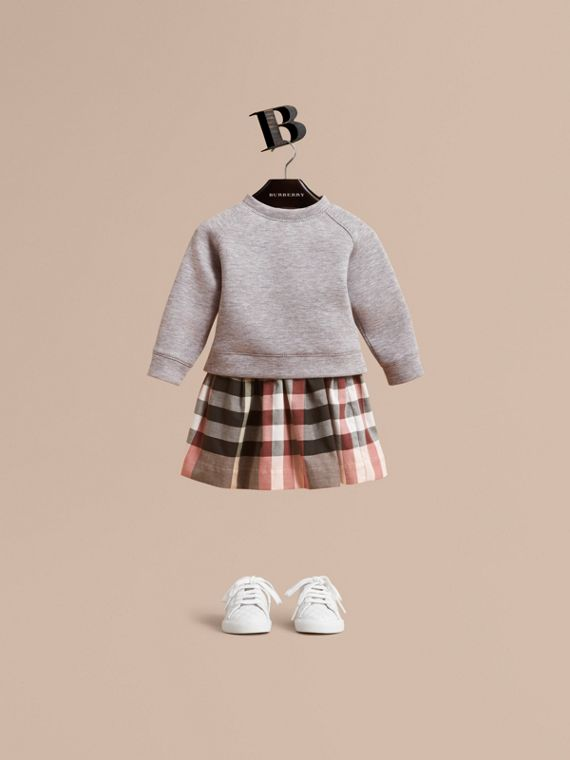 Contrast Check Sweater Dress in Dusty Pink