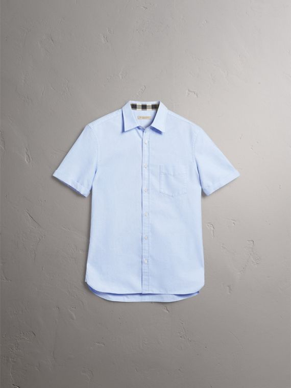 Check Detail Short-Sleeved Cotton Oxford Shirt in Cornflower Blue - Men | Burberry - cell image 3