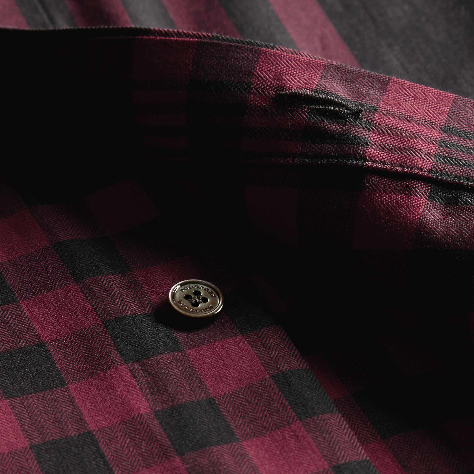 Burgundy red Graphic Check Cotton Shirt Burgundy Red - gallery image 2
