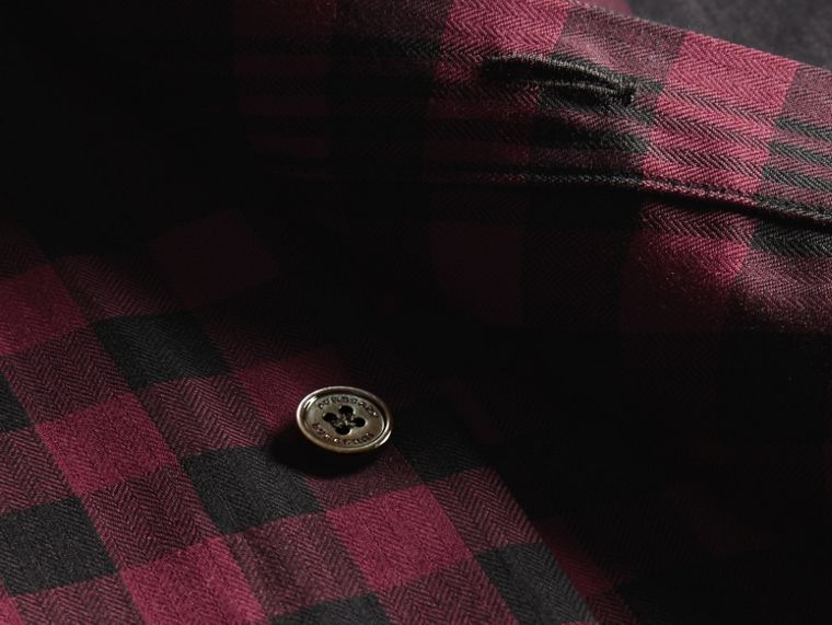 Burgundy red Graphic Check Cotton Shirt Burgundy Red - cell image 1
