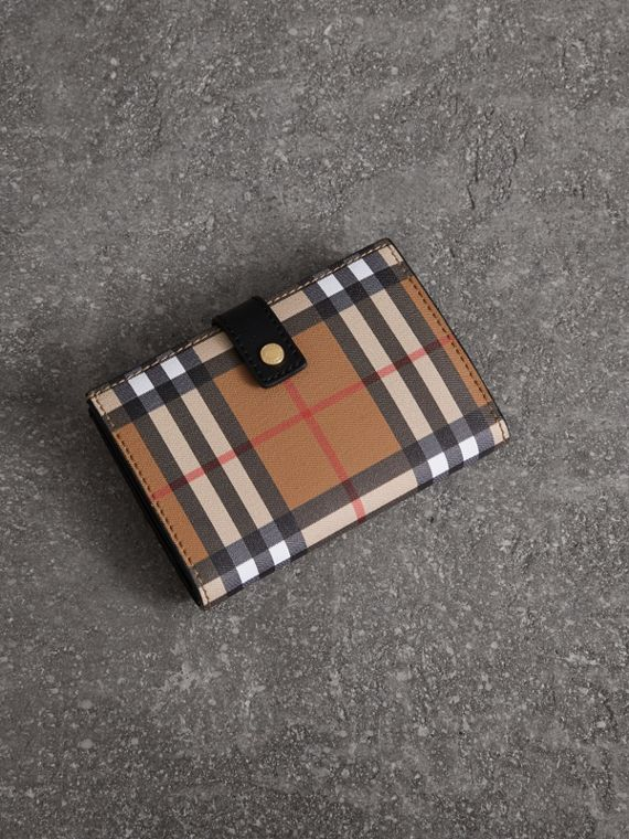 Vintage Check and Leather Folding Wallet in Black