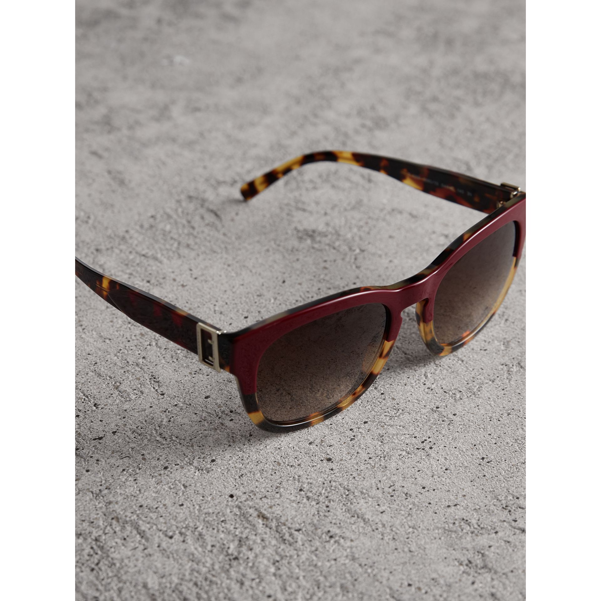 Buckle Detail Square Frame Sunglasses in Burgundy - Women | Burberry Australia - gallery image 3
