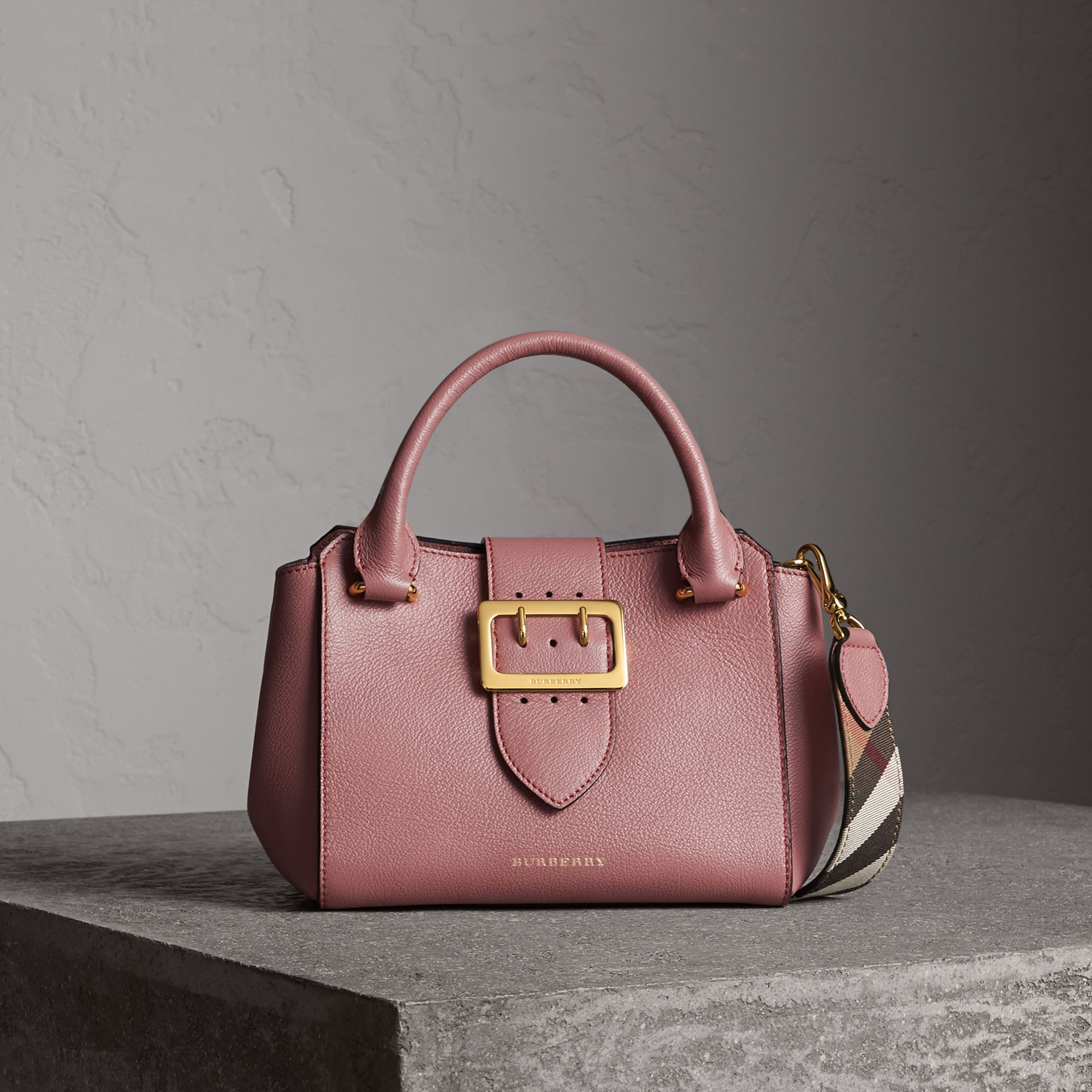 The Small Buckle Tote in Grainy Leather in Dusty Pink - Women | Burberry - gallery image 0