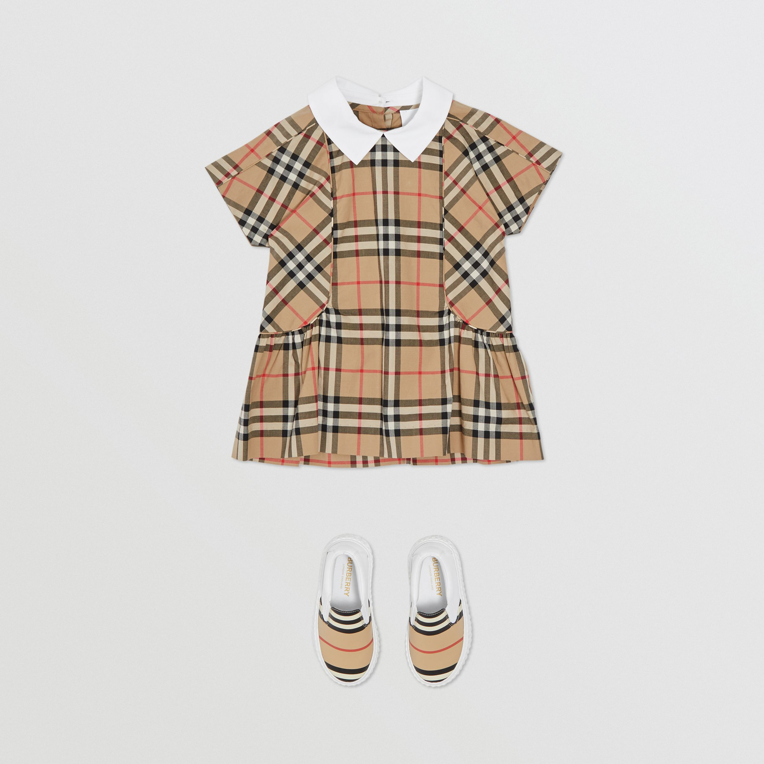 Contrast Collar Vintage Check Cotton Dress in Archive Beige - Children | Burberry United Kingdom - 3