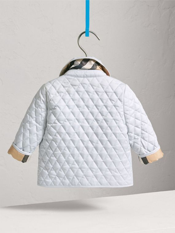 Check Detail Diamond Quilted Jacket in Ice Blue | Burberry United Kingdom - cell image 3