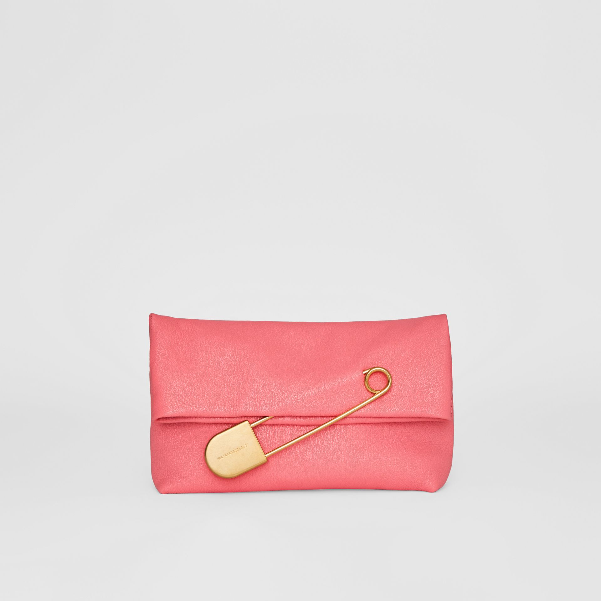 The Medium Pin Clutch in Leather in Bright Coral Pink - Women | Burberry United States - gallery image 4