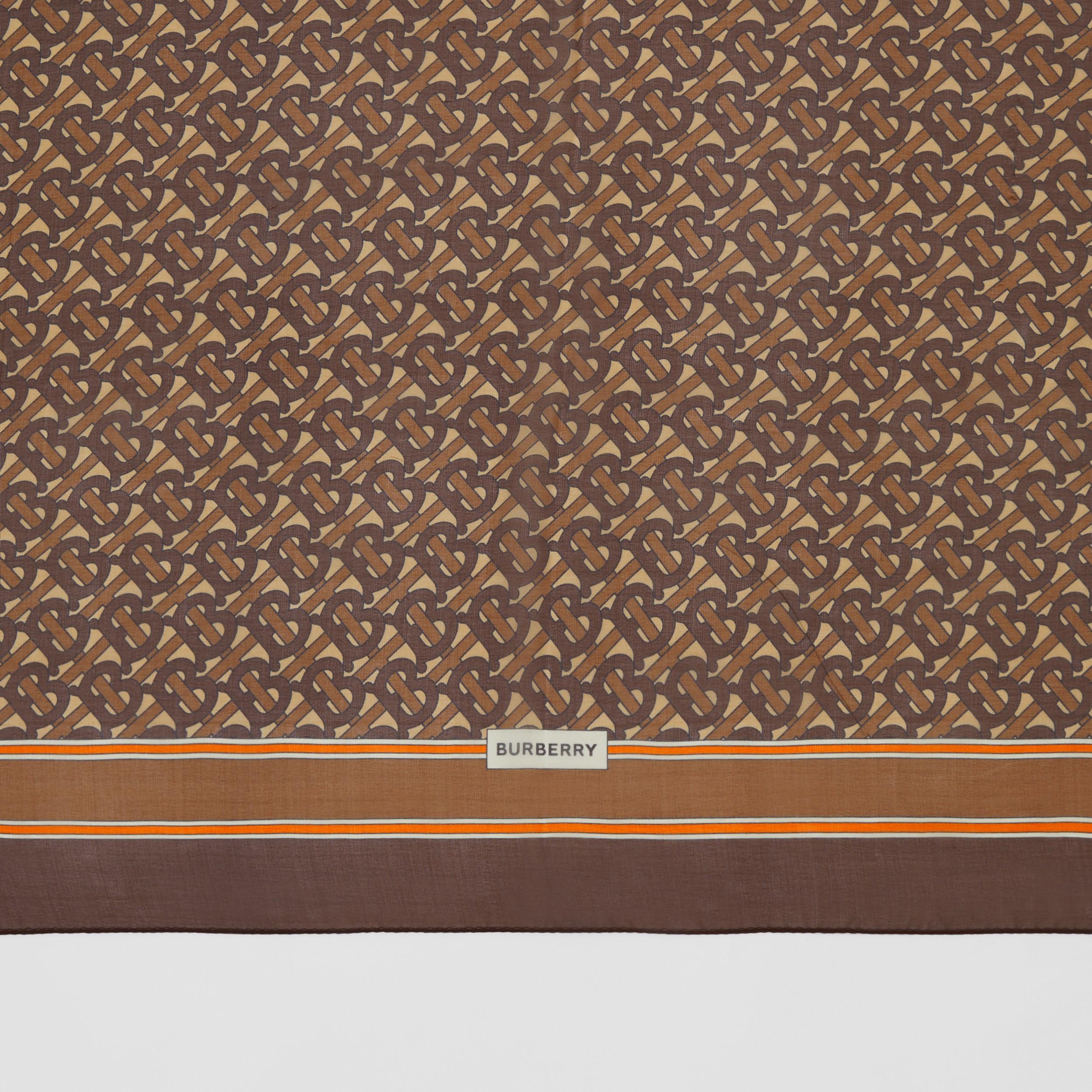 Sciarpa in chiffon di seta con stampa monogramma (Marrone Redini)   Burberry