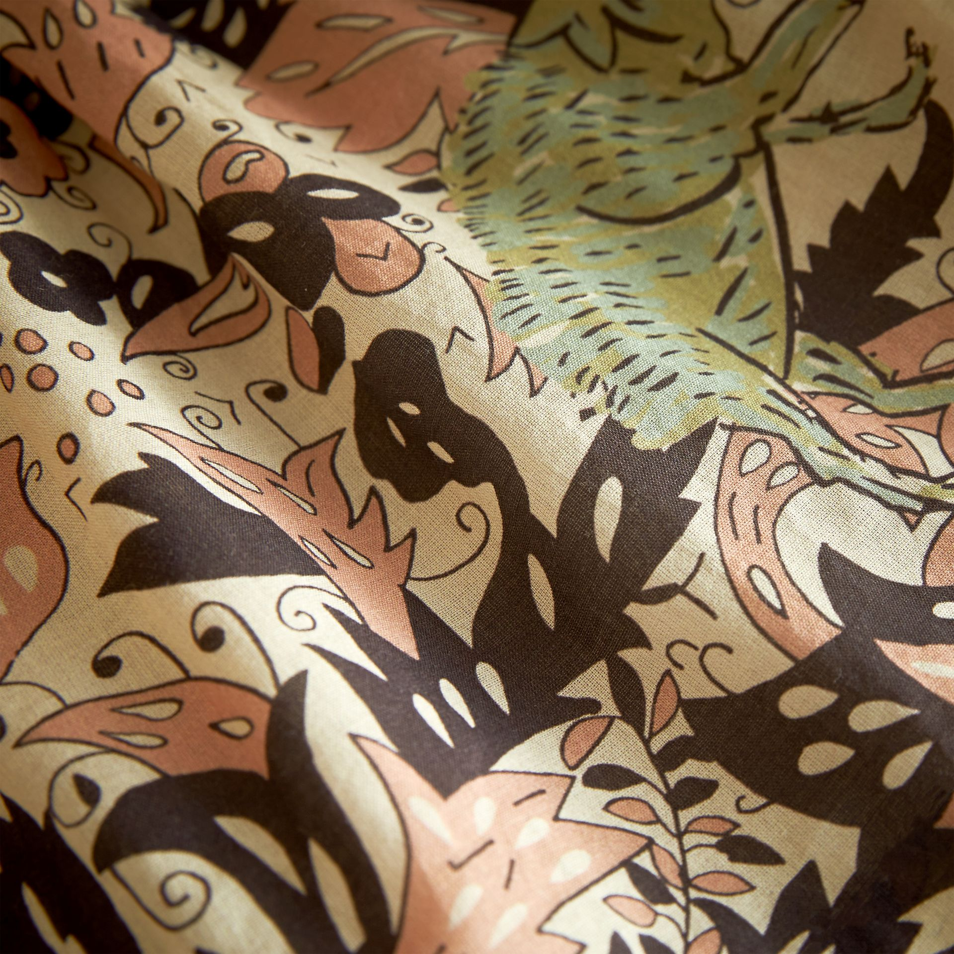 Beasts Print Cotton Smock Dress in Antique Taupe Pink | Burberry - gallery image 2