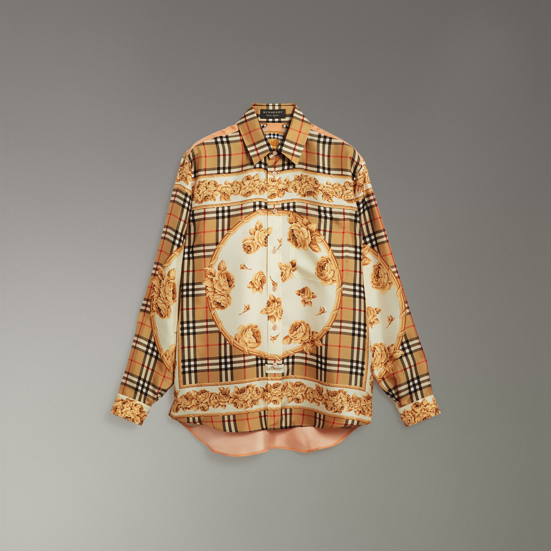 Archive Scarf Print Silk Shirt in Antique Yellow | Burberry - gallery image 3