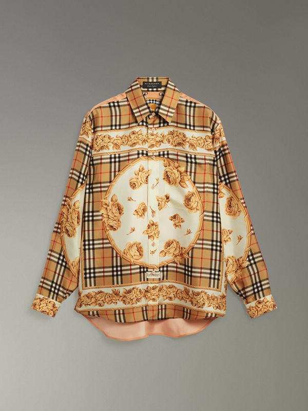Archive Scarf Print Silk Shirt in Antique Yellow | Burberry Hong Kong - cell image 3