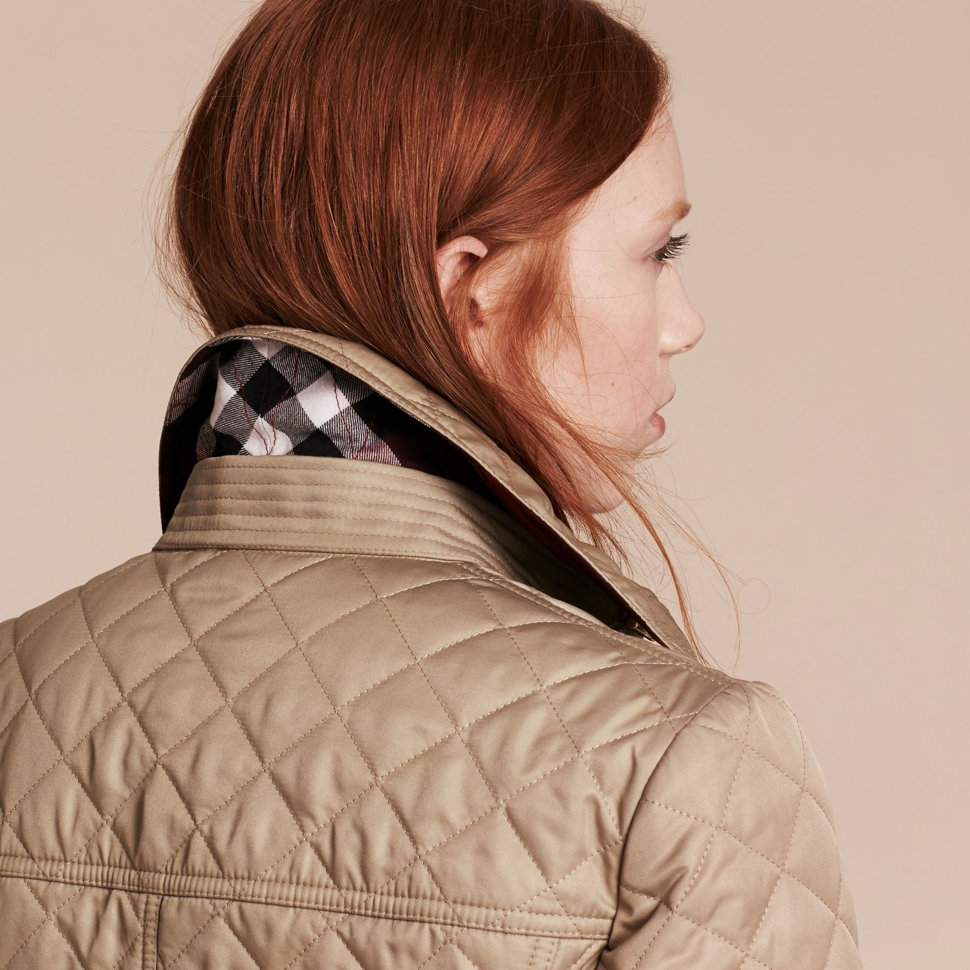 Canvas Diamond Quilted Peplum Jacket Canvas - gallery image 5