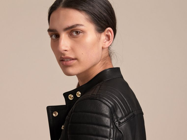 Quilted Panel Lambskin Biker Jacket - cell image 4