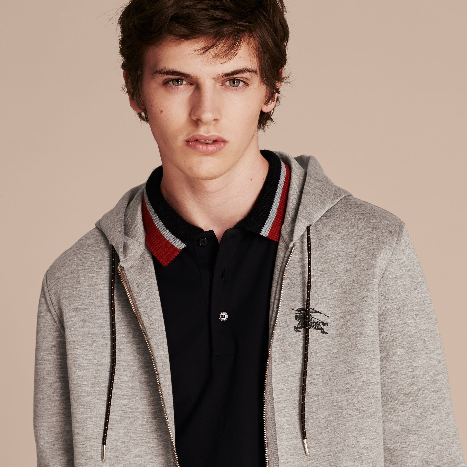 Two-tone Jersey Hooded Top Light Grey Melange - gallery image 4