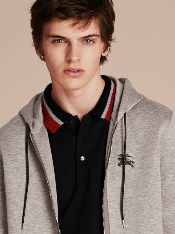 Two-tone Jersey Hooded Top Light Grey Melange - cell image 3