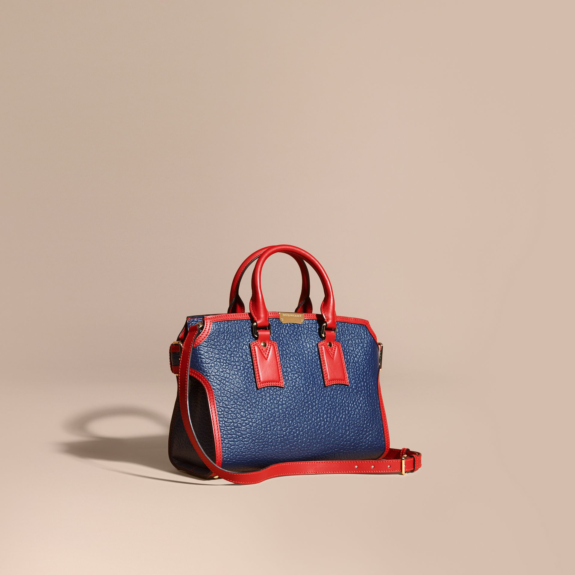 Blue carbon/parade red The Medium Clifton in Signature Grain Leather with Border Detail - gallery image 1