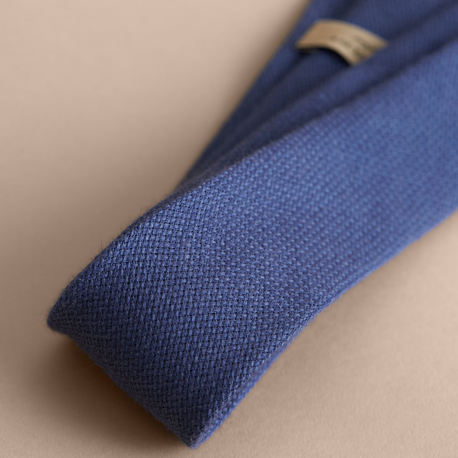 Modern Cut Linen Tie in Steel Blue - Men | Burberry - gallery image 2