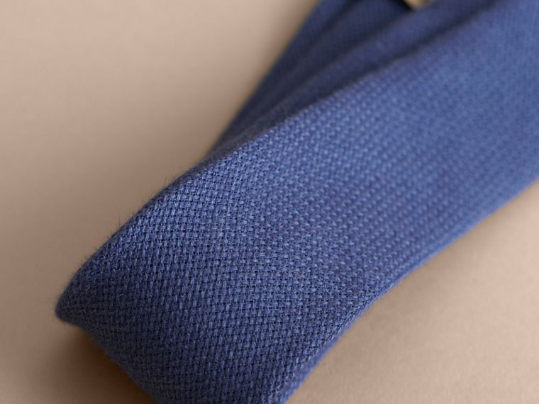 Modern Cut Linen Tie in Steel Blue - Men | Burberry - cell image 1