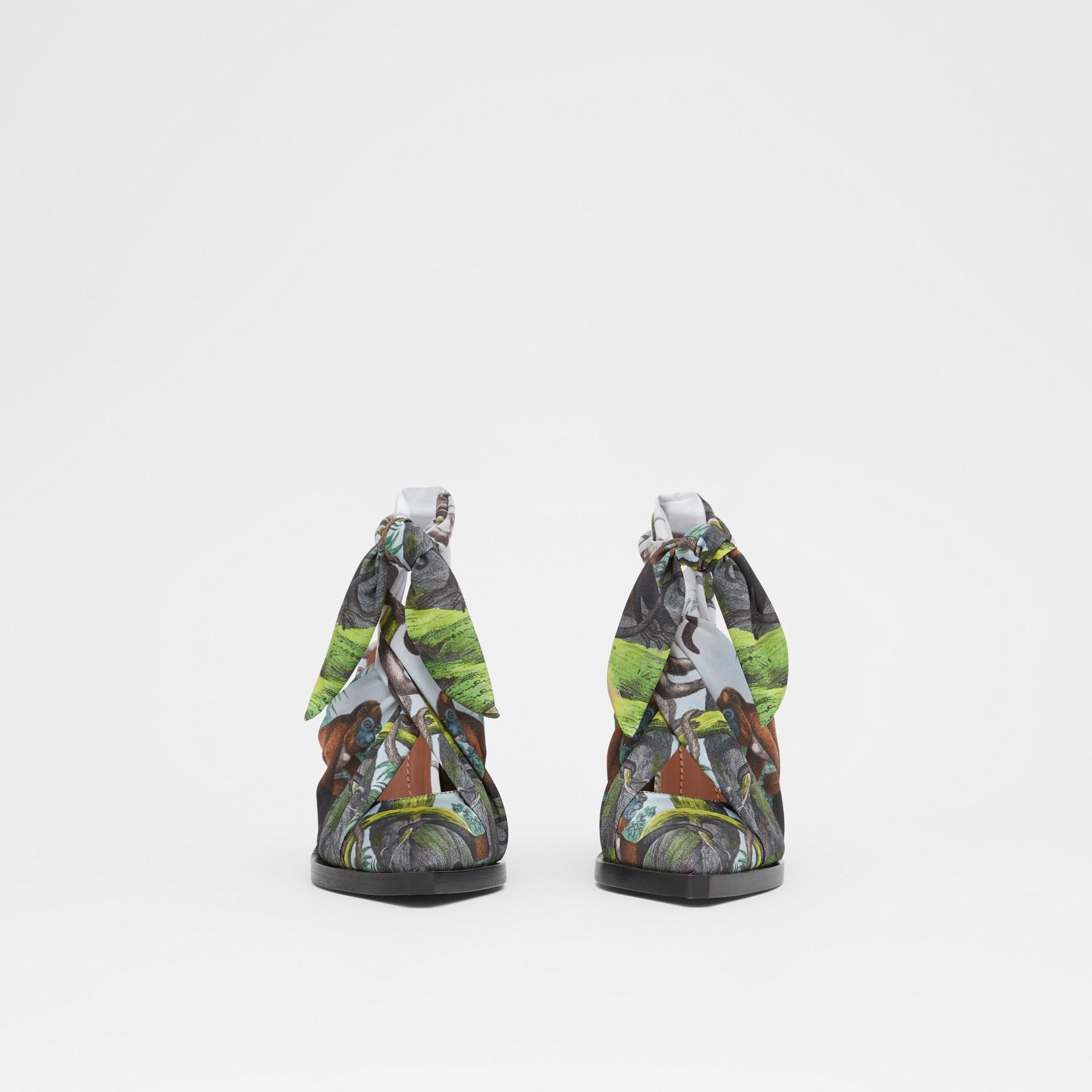 Scarf Tie Detail Monkey Print Point-toe Mules in Opal Green - Women | Burberry - gallery image 3