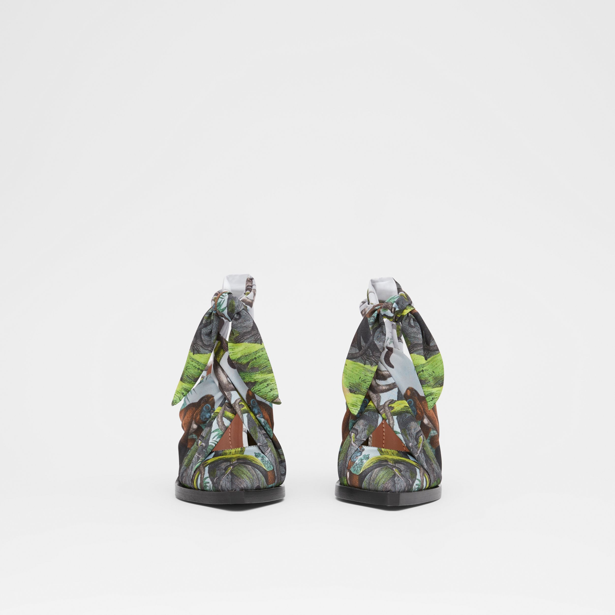 Scarf Tie Detail Monkey Print Point-toe Mules in Opal Green - Women | Burberry - 4