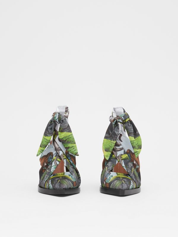 Scarf Tie Detail Monkey Print Point-toe Mules in Opal Green - Women | Burberry United Kingdom - cell image 3