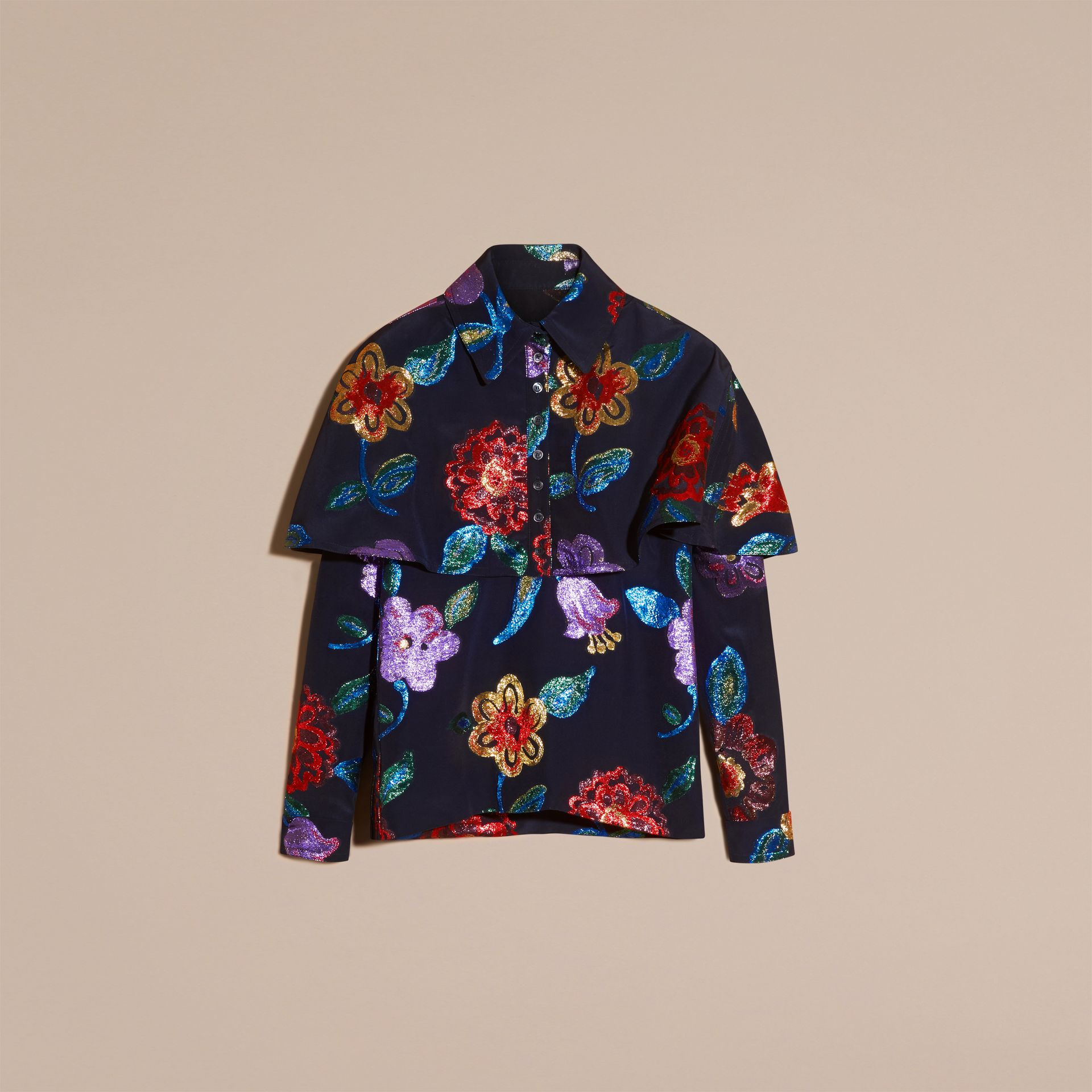 Navy Floral Fil Coupé Silk Blend Caped Shirt - gallery image 4