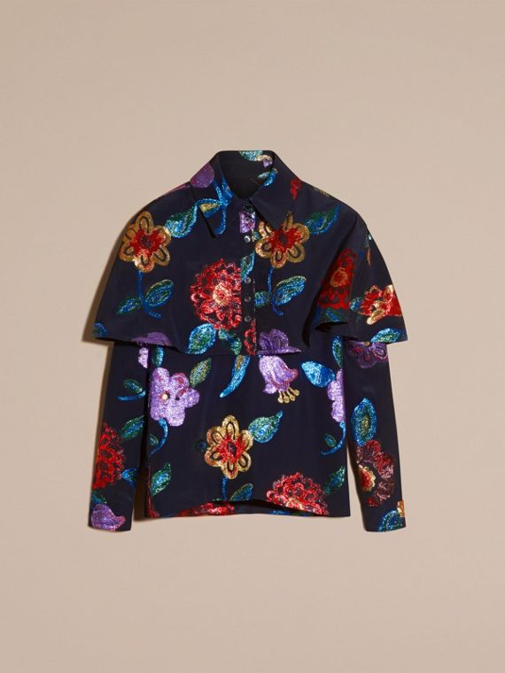 Navy Floral Fil Coupé Silk Blend Caped Shirt - cell image 3