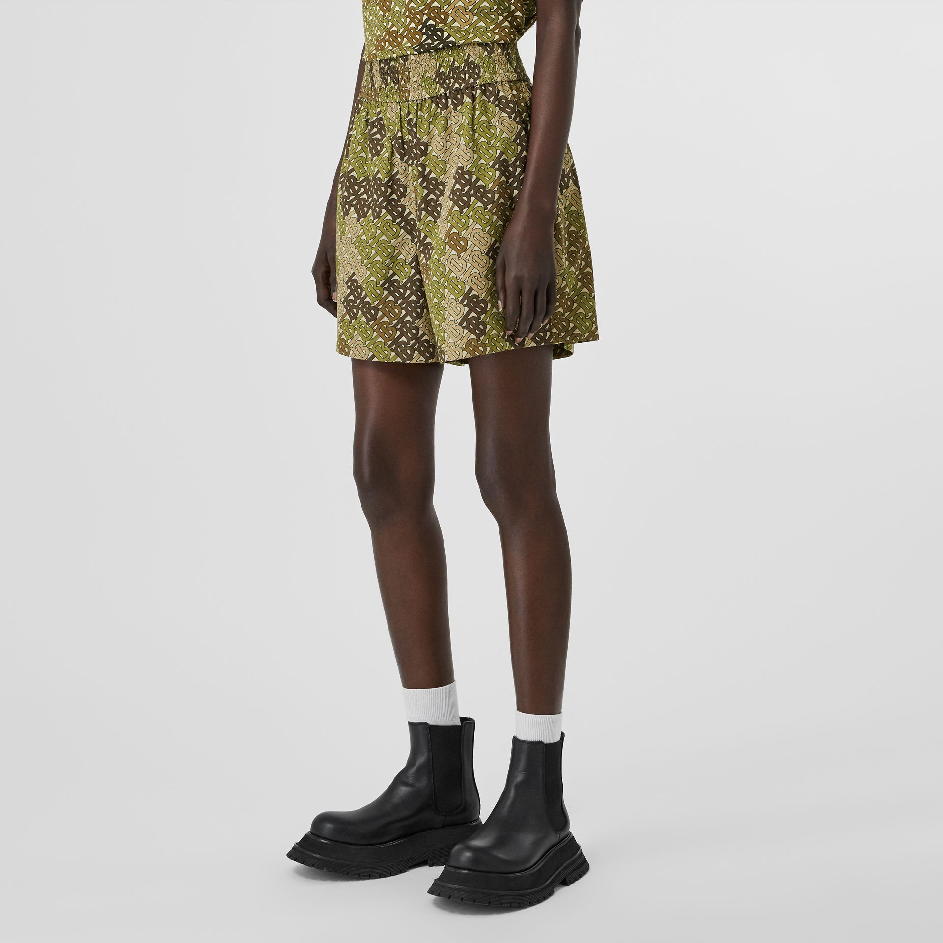 Monogram Print Cotton Poplin Shorts in Khaki Green - Women | Burberry - gallery image 4